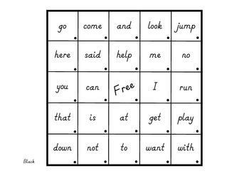 Sight Word Bingo Cards - 9 Sets for up to 4 students