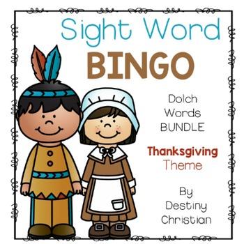 Sight Word Bingo {Dolch Bundle} Thanksgiving Theme