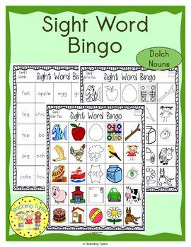 Sight Words Bingo Dolch Nouns