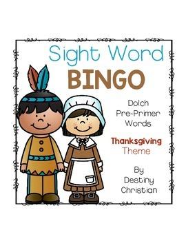 Sight Word Bingo {Dolch Pre-Primer} Thanksgiving Theme