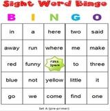 Sight Word Bingo Dolch Pre-Primer