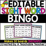 Sight Word Bingo Editable for YOUR Sight Words
