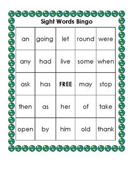 Sight Word Bingo (First)