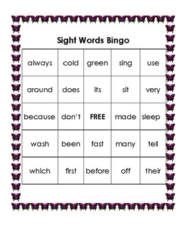 Sight Word Bingo (Second)
