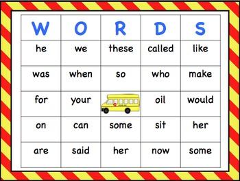 Sight Word Bingo- First 100 Words