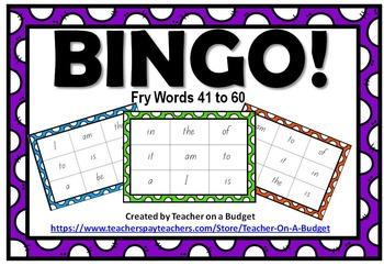 Sight Word Bingo Fry Words 1 to 100 Bundle