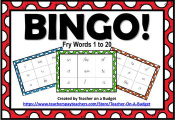 Sight Word Bingo Fry Words 1 to 20