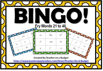 Sight Word Bingo Fry Words 21 to 40