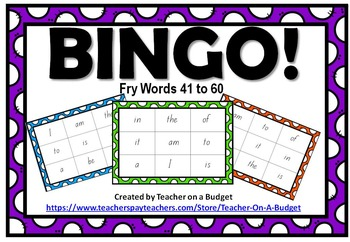 Sight Word Bingo Fry Words 41 to 60