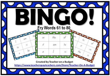 Sight Word Bingo Fry Words 61 to 80