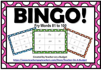 Sight Word Bingo Fry Words 81 to 100