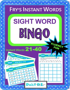 Sight Word Bingo - Fry's Instant Words 21-40