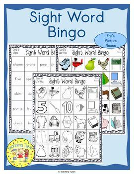 Sight Words Bingo Fry's Picture Nouns