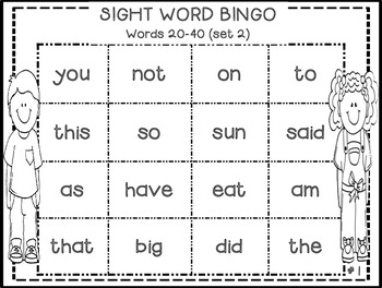 Sight Word Bingo (Fry's 200 sight words)