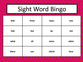 Sight Word Bingo Fry's First 100