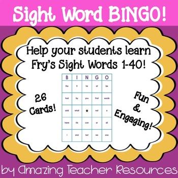 Sight Word Bingo - Fry's Sight Words 1-40
