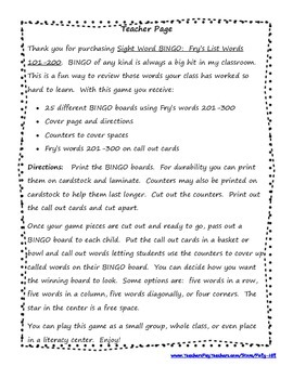 Sight Word Bingo:  Fry's Word List Set 3