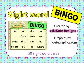 Sight Word Bingo Game
