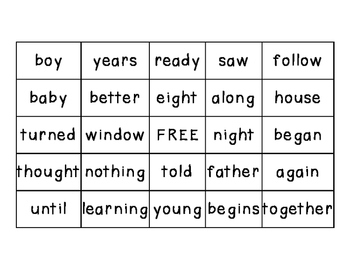 Sight Word Bingo Game Boards- Ready to Use!