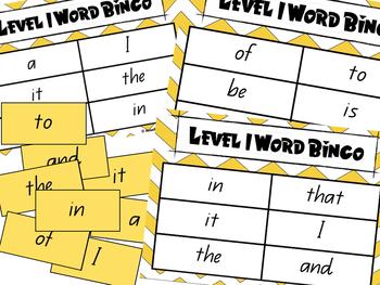 Sight Word Bingo Game Bundle **100 Most Common Words**