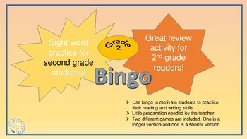 Sight Word Bingo Game for Grade Two Students