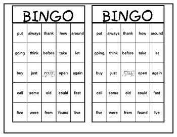 Sight Word Bingo Grades 1-2