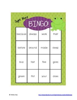 Sight Word Bingo: Grade 2