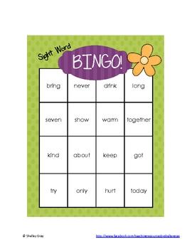 Sight Word Bingo: Grade 3