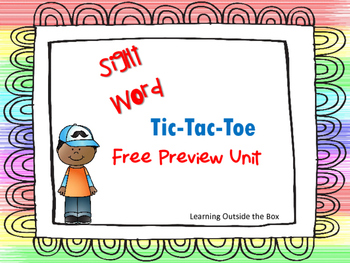 Sight Word Tic Tac Toe Free Preview Unit--Updated