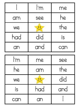 Sight Word Bingo - Kindergarten