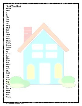 Sight Word Bingo (Kindergarten)