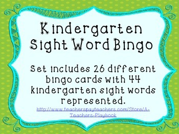 Sight Word Bingo-Kindergarten 44 words