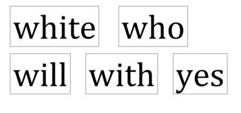 Sight Word Bingo - Kindergarten Dolch sight words