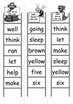 Sight Word Bingo Ladders - words 109-120