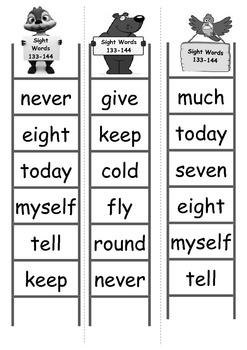 Sight Word Bingo Ladders - words 133-144