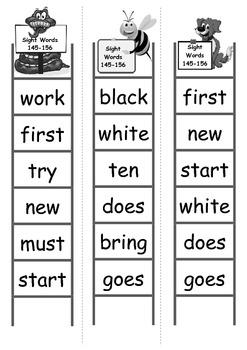 Sight Word Bingo Ladders - words 145-156