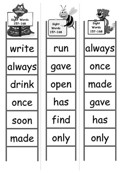Sight Word Bingo Ladders - words 157-168