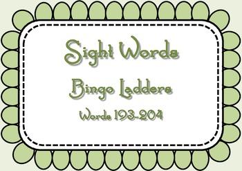 Sight Word Bingo Ladders - words 193-204