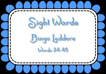 Sight Word Bingo Ladders - words 37-48