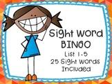 Sight Word Bingo Lists 1-5 Includes 25 words 10 Bingo Boards