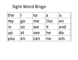 Sight Word Bingo - Lists A,B,C