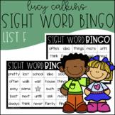 Sight Word Bingo - Lucy Calkins High Frequency List F