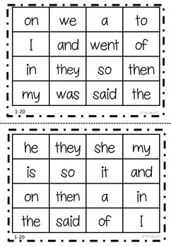 Sight Word Bingo - Oxford Wordlist Plus - 1-100