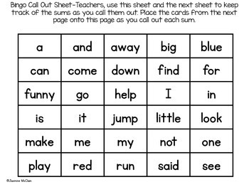 Sight Word Bingo (Pre-Primer)