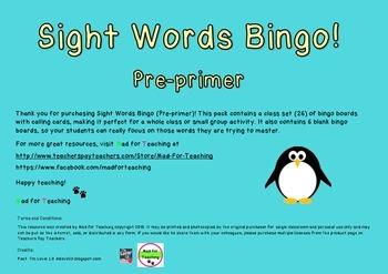 Sight Word Bingo Pre Primer Class Set