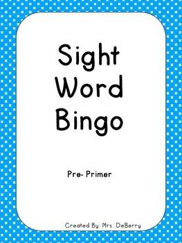 Sight Word Bingo Pre-Primer level
