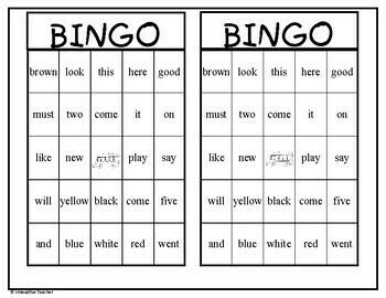 Sight Word Bingo PreK-K