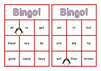 Sight Word Bingo Primer Class Set