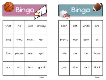 Sight Word Bingo - Primer List