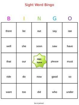 Sight Word Bingo - Dolch Primer Words